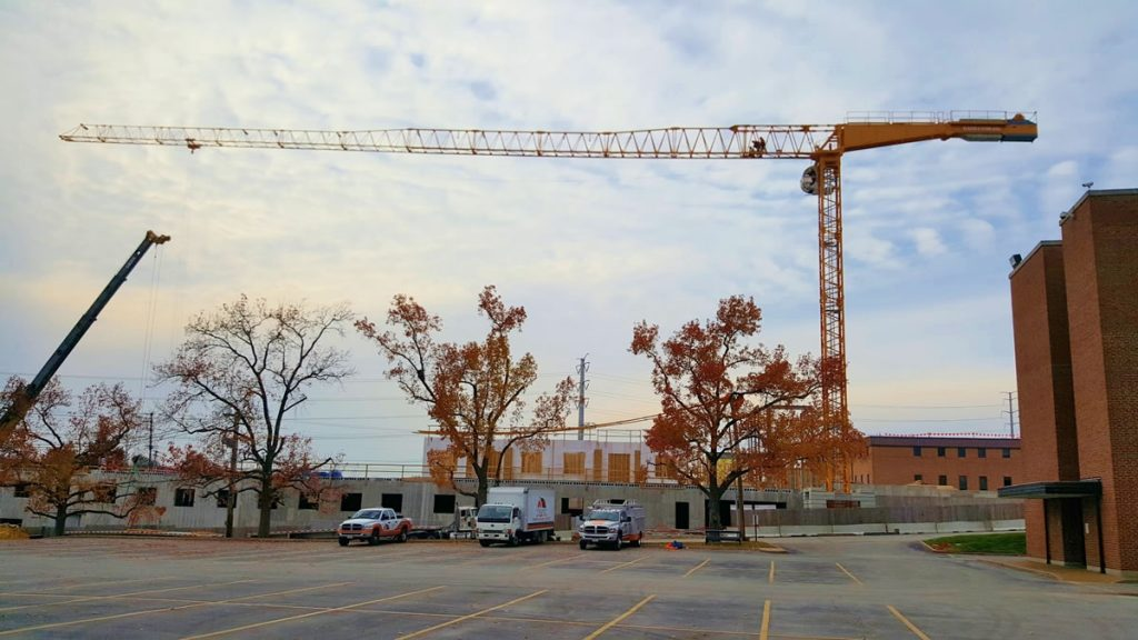 tower crane, 175 ton crane, and CSC vehicles