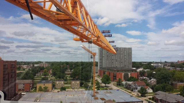 double tower cranes view from the cab overlooking Champaign, IL