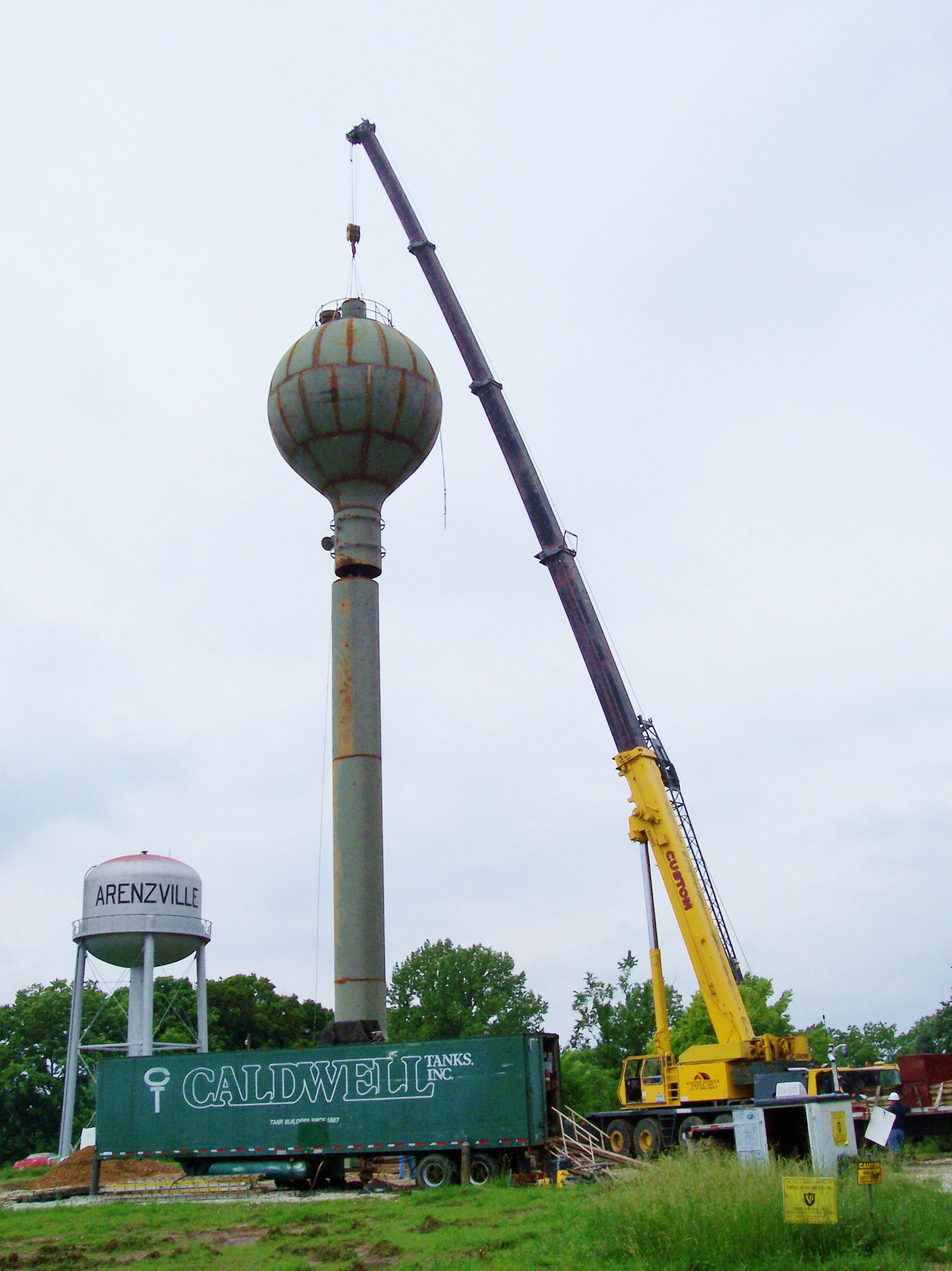 90 ton hydraulic crane deconstructing a water tower in western IL.