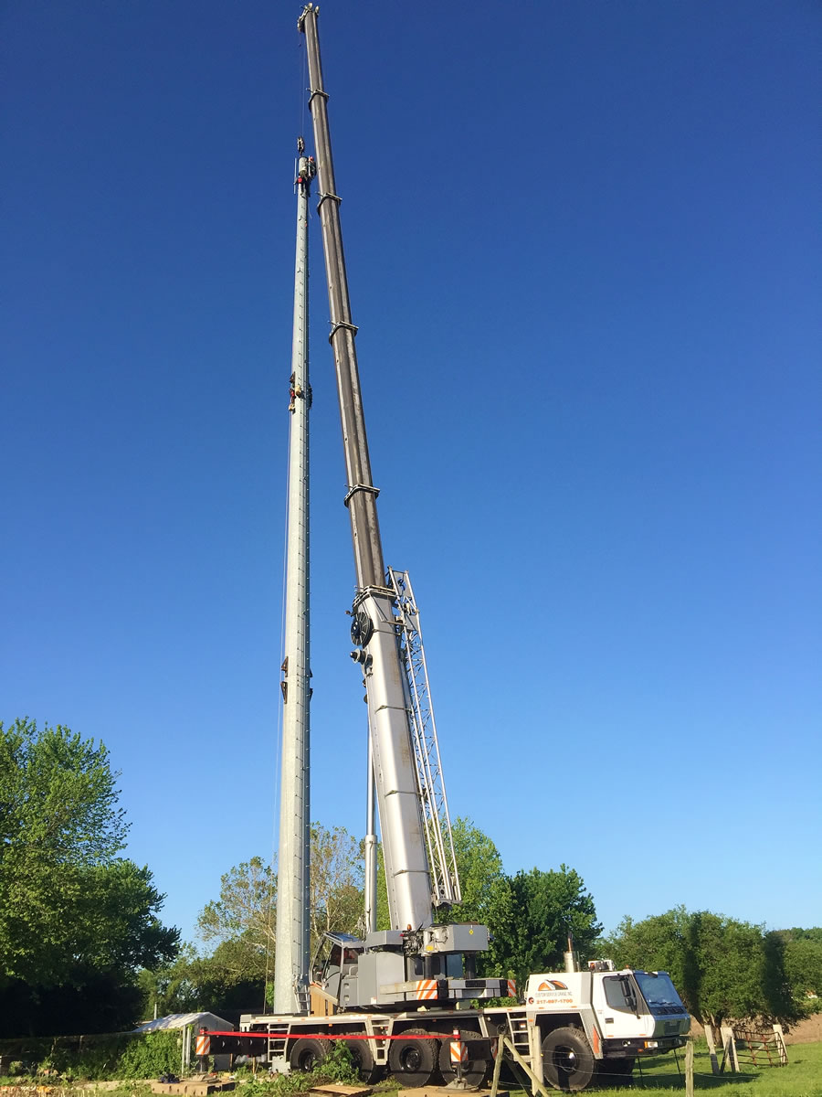 275 ton setting monopole for cell tower.
