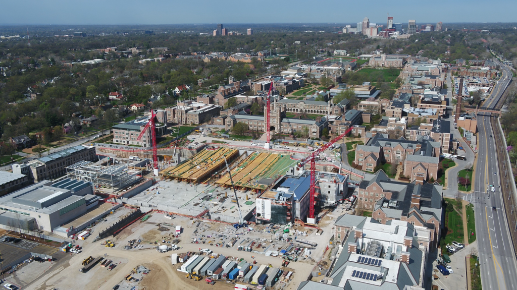 Aerial view of  job site progress at Washington University in St. Louis, MO