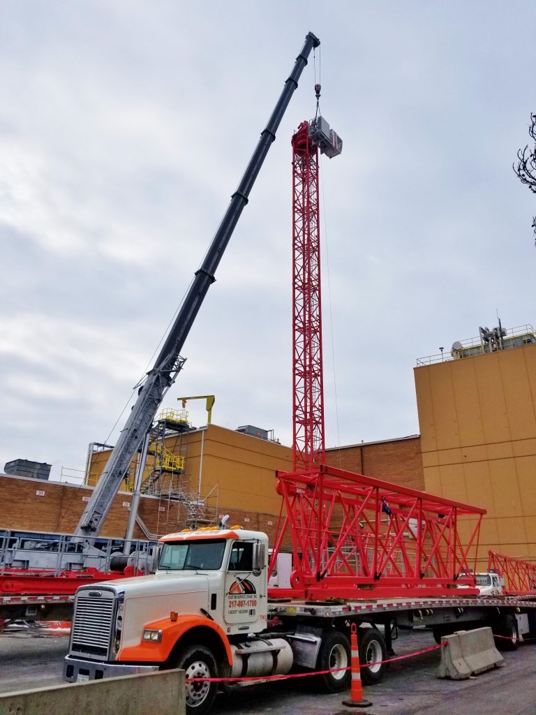 A Wolffkran 7536 tower is being assembled at the Champaign Kraft plant.