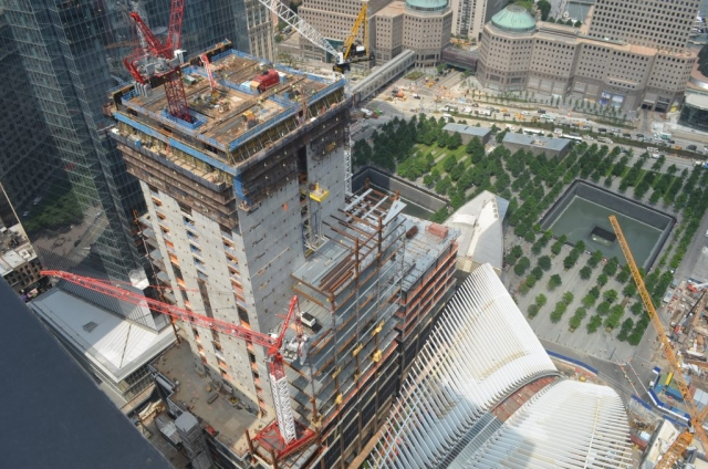 Wolffkran tower cranes building the World Trade Center in NYC.