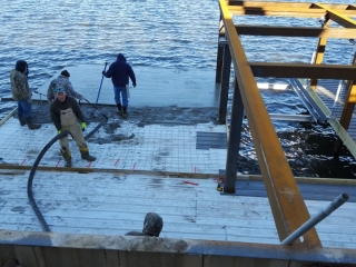 Pumping a boat deck.