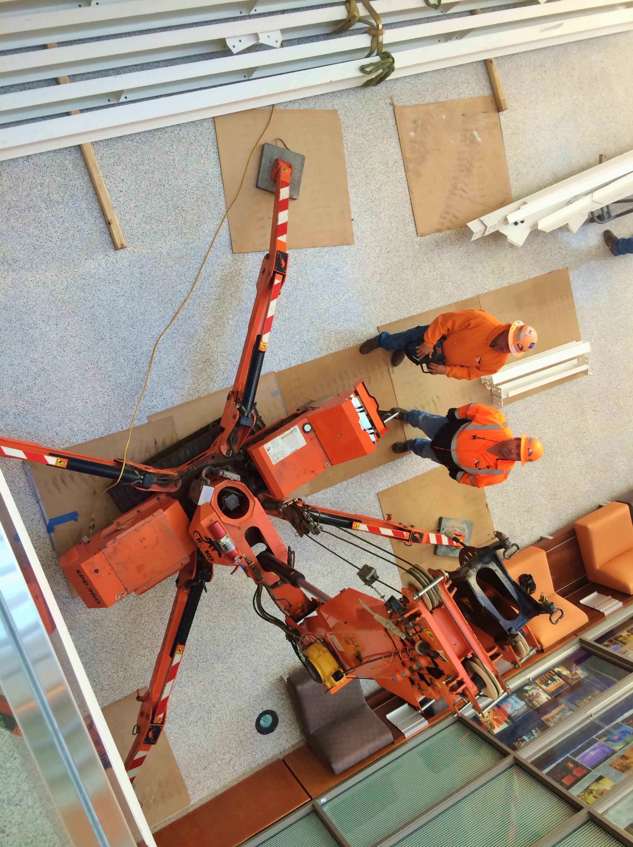 Overhead view of Jekko mini crane.
